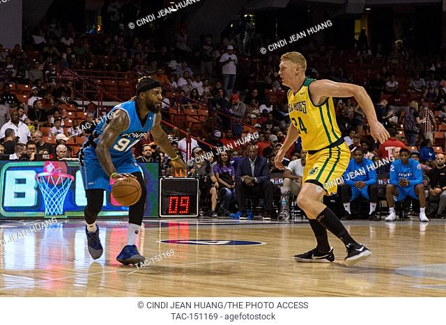 DeShawn Stevenson #92 of Power attempts to dribble past Brian Scalabrine #24 of the Ball Hogs during Game #1 at Big3 Week 5 3-on-3 tournament at UIC Pavilion on...