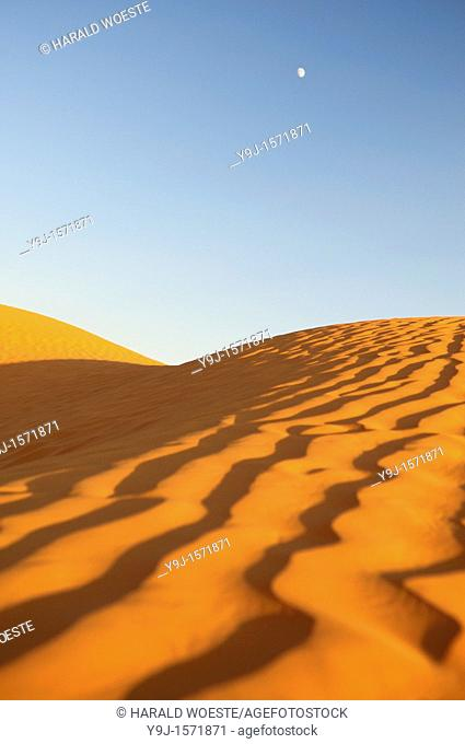Africa, Tunisia, nr  Ksar Rhilane  Sunset and moonrise in the the beautiful Sahara sand dunes north east of Ksar Ghilane