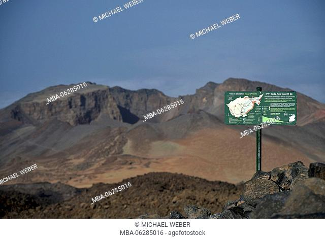 Sign for trail of Pico Viejo to the summit of Mount Teide, Teide National Park, Tenerife, Canary Islands, Spain