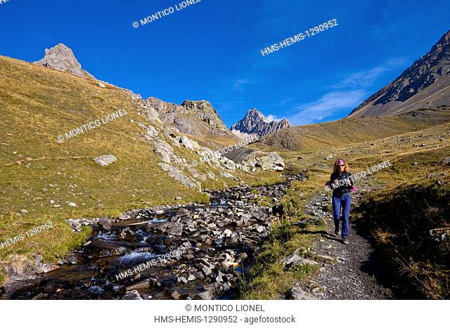 France, Hautes Alpes, Briancon, hiking path Grand Lake (GR 57)