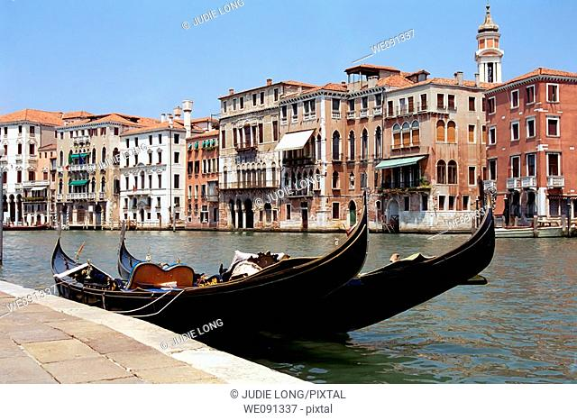 Two gondolas on the Grand Canal, Venice, Italy