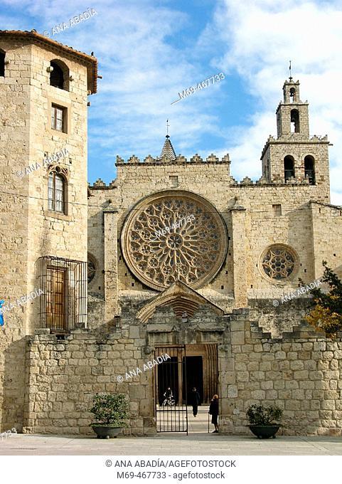 Main entrance to monastery of Sant Cugat del Valles. Barcelona province, Catalonia, Spain