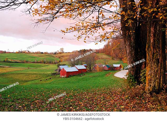 A bucolic rural scene in late autumn in Vermont