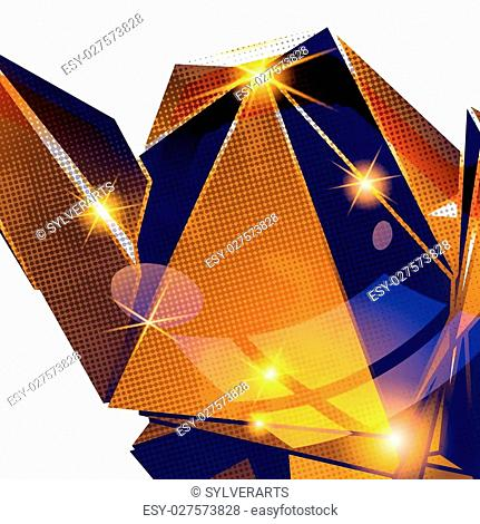 Vector grain technology backdrop with multifaceted pixilated cybernetic model