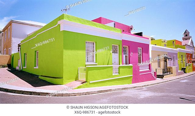 The colorful houses on Chiappini Street in the Bo-Kaap, Cape Town South Africa