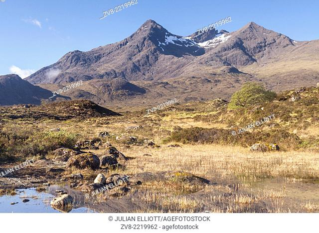Sgurr nan Gillean from Sligachan on the Isle of Skye, Inner Hebrides, Scotland. The island is known for it beautiful and dramatic scenery