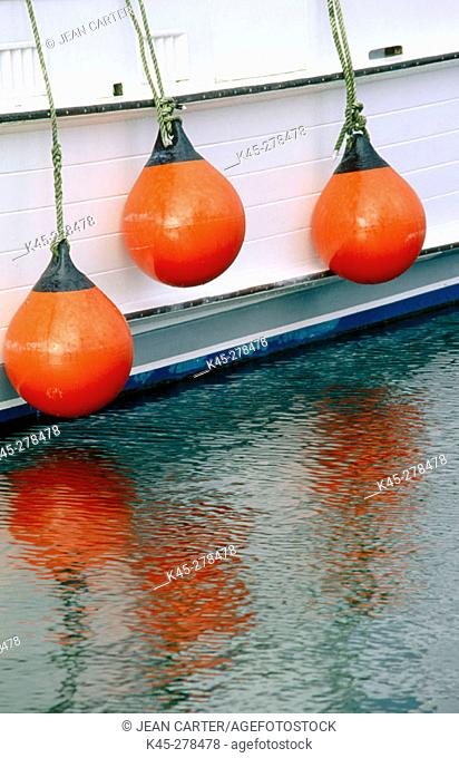 Bumpers on commercial fishing boat. Charleston Boat Basin. Southern Oregon Coast. USA
