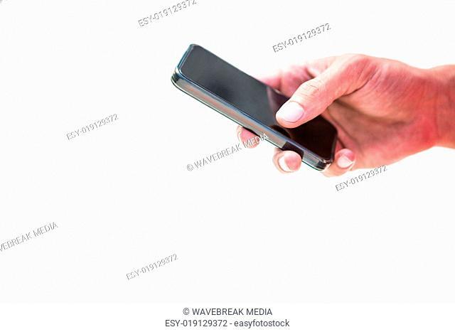 Close up hands sending a text message