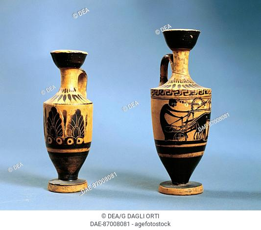 ART OF THE MAGNA GRECIA CALABRIA V SEC. AC 165 lekythos PENTHOUSE FROM THE GRAVE  Vibo Valentia, Castello Normanno Svevo
