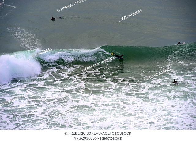 Belly board surfing, Praia do Faro, Algarve, Portugal