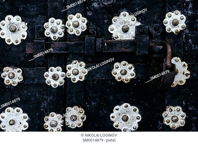 Horizontal vintage antique door gate lock background backdrop