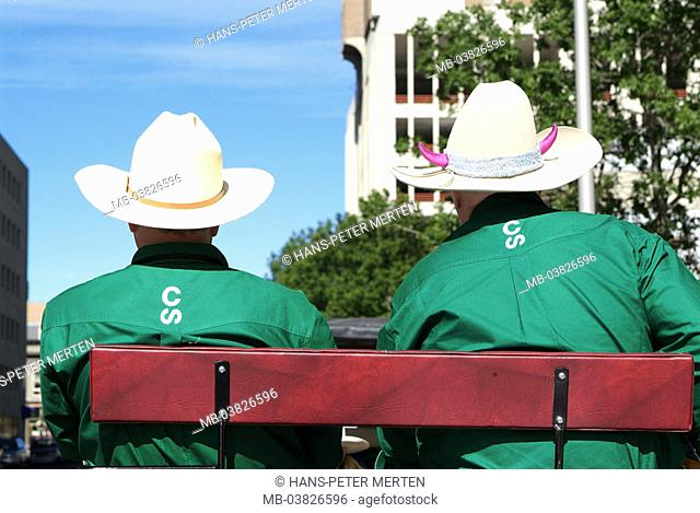 Canada, Alberta, Calgary, Stampede, carriage, men, back opinion, detail,