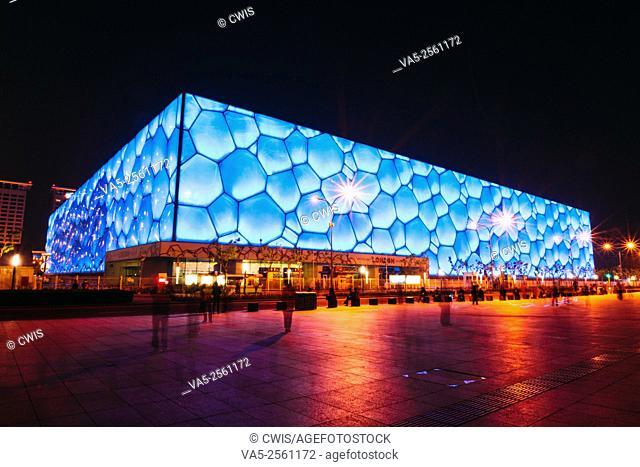 Beijing, China - May, 2013: The view of Chinese National Aquatics Center (Water Cube) at night