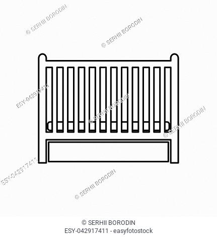 Baby bed it is black color icon