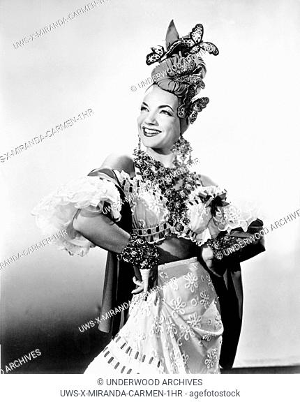 Hollywood, California: c. 1942.Singer, dancer, actress and movie star Carmen Miranda in one of her famous outfits