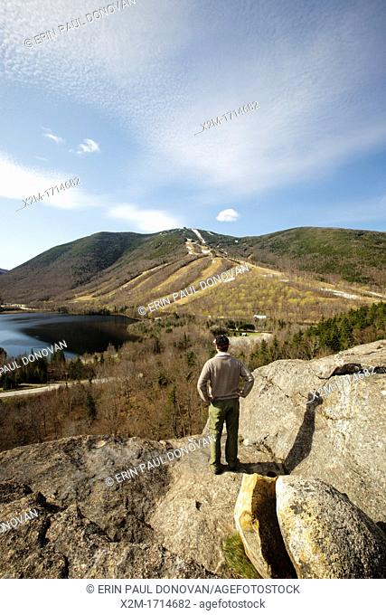 Franconia Notch State Park - Cannon Mountain from Artists Bluff during the spring months in the White Mountains, New Hampshire USA
