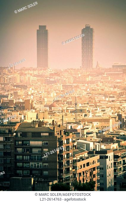 Pollution in the city. Hotel Arts and Mapfre tower. Barcelona, Catalonia, Spain