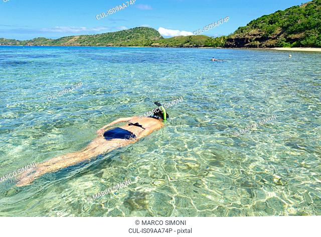Woman snorkelling, Yasawa island group, Fiji, South Pacific islands