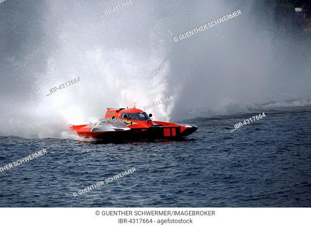 Hydroplane racing on the Saint Lawrence River, Valleyfield, Quebec Province, Canada