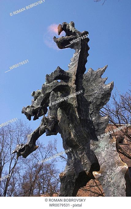 Dragon in front of Wawel wzgorze, Krakow
