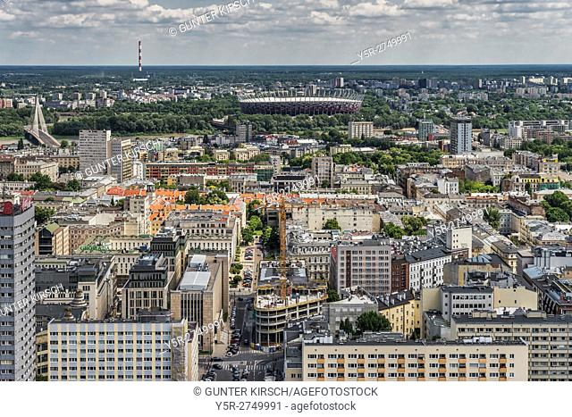 View from the Palace of Culture and Science (Palac Kultury i Nauki) over the Polish capital and to the national stadium, Warsaw, Masovian, Poland, Europe