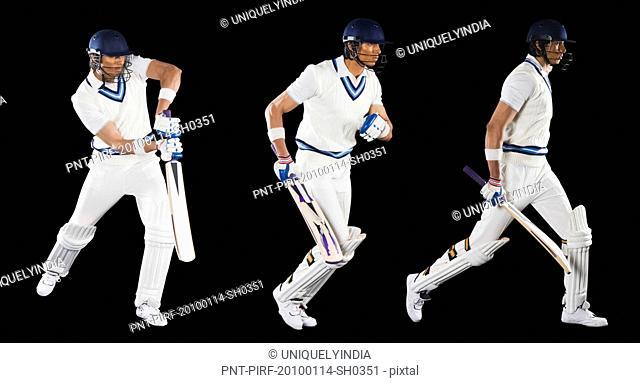 Multiple images of a cricket batsman