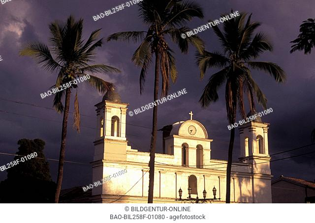 The church in the Parque Central from Copan in the mountains of Copan in westen from Honduras