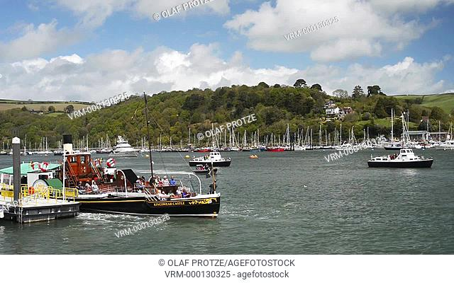View at the paddle steamer MV Kingswear Castle on the River Dart at Dartmouth Harbour, Devon, England, UK