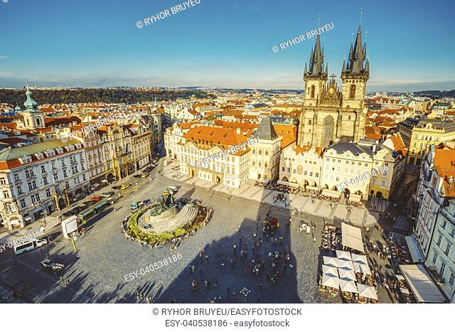 Famous scene, cityscape of Prague, Czech Republic. Towers of Church Of Our Lady Before Tyn In Old Town Square