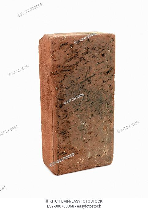 A red brick isolated against a white background