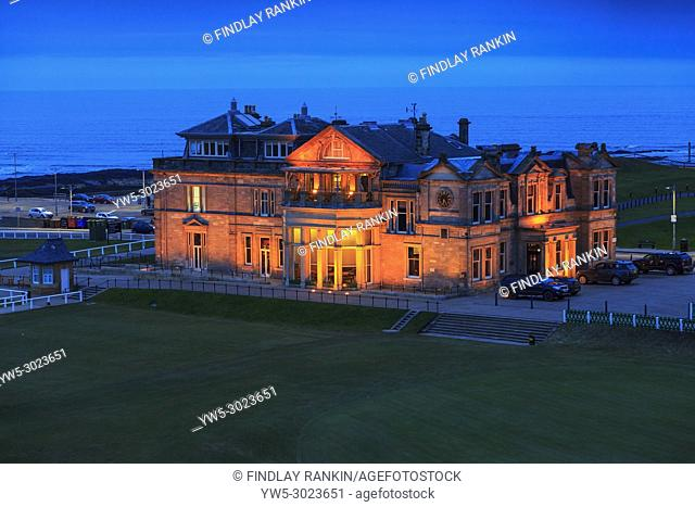 Royal and Ancient Clubhouse and headquarters overlooking the first tee at St Andrews Old Course links, St Andrews, Fife, Scotland, UK