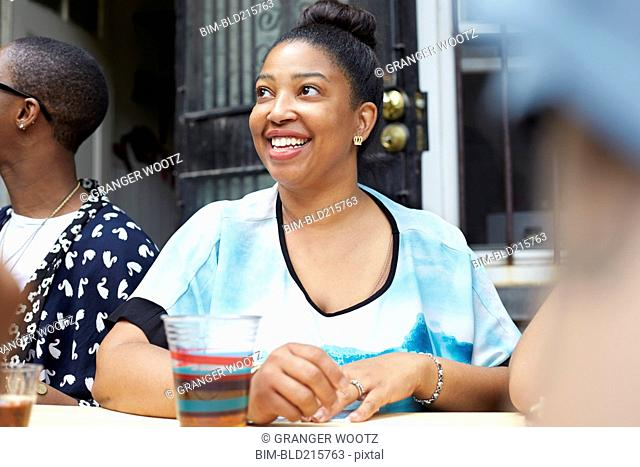 Woman relaxing at table