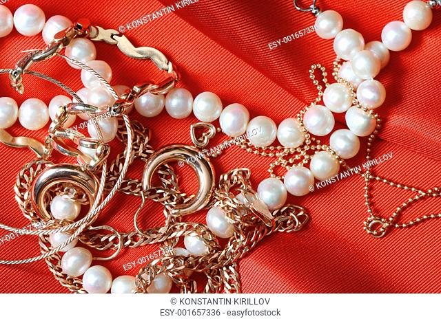 Jewelry On Red