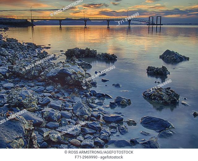 Onerahi Wharf at sunrise. Whangarei Harbour, Northland, New Zealand