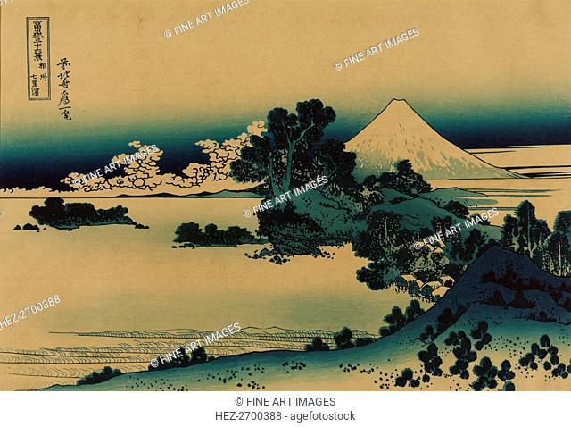 Shichiri beach in Sagami Province (from a Series 36 Views of Mount Fuji), 1830-1833