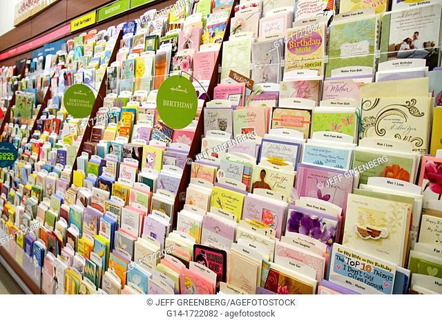 Florida, Miami Beach, Walgreens, pharmacy, drugstore, business, retail display, shelves, packaging, for sale, greeting cards, birthday, Hallmark
