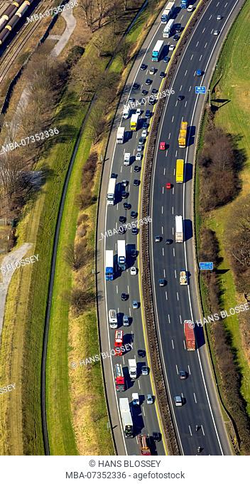 Autobahn A3 at Oberhausen, traffic jam, Duisburg, Ruhr area, North Rhine-Westphalia, Germany