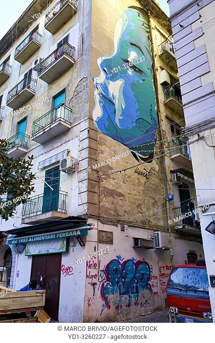 Naples Campania Italy. Mural street art at Pignasecca quarter