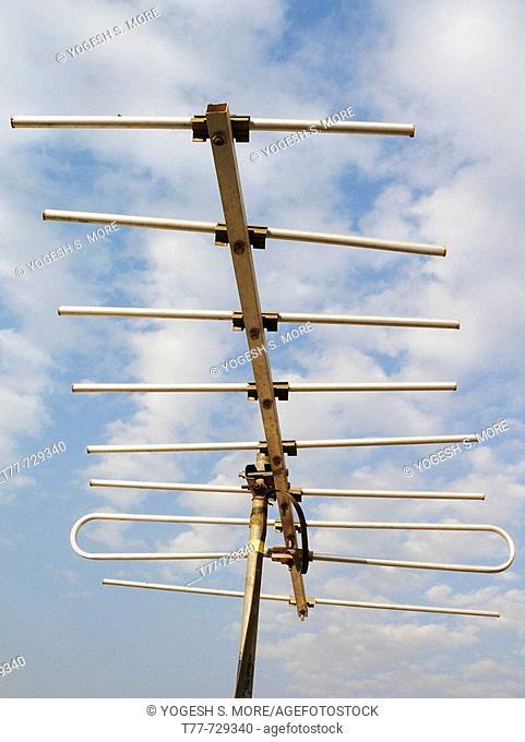 Television Aerial, antenna against blue sky  Pune, Maharashtra, India