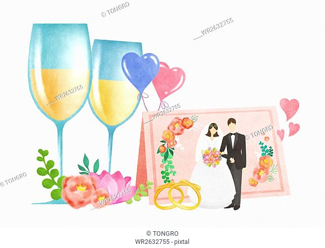 Wedding couple with two glasses of champagne, wedding rings and invitation card