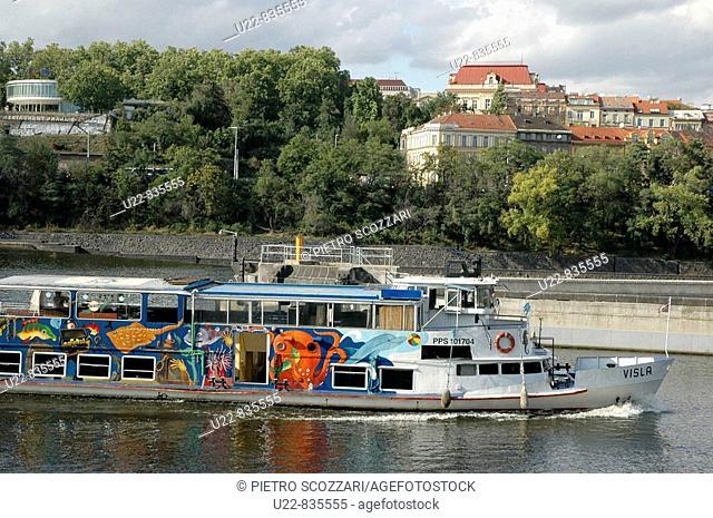 Prague Czech Republic, boat along the Vltava River