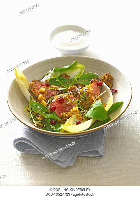 Warm lamb salad, close-up