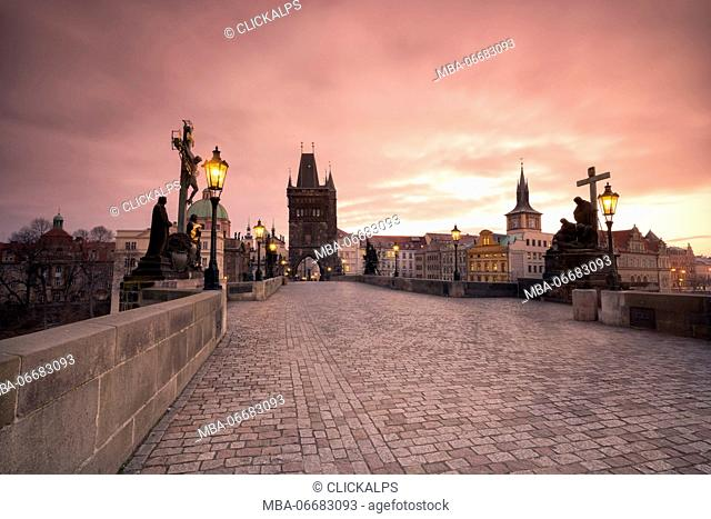 Charles Bridge, Prague, Czech Republic colorful sunrise on the Charles Bridge