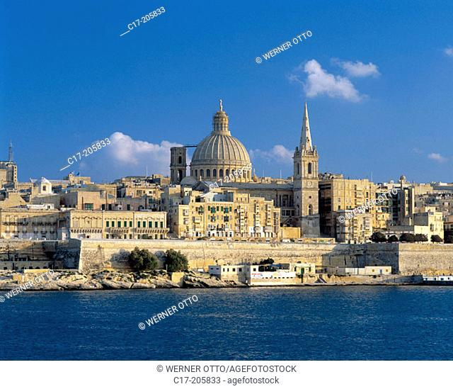 Malta, Valletta, city view, St. Paul Anglican Cathedral, Church Our Lady of Mont Carmel, Marsamxett Harbour