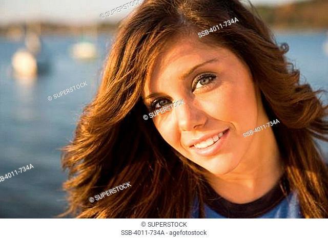 USA, Texas, Dallas, Portrait of teenage girl at White Rock Lake
