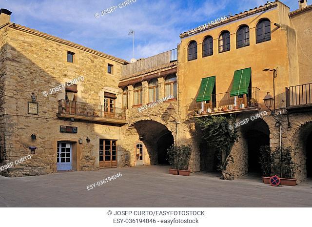 Square of medieval village of Peratallada, Alt Emporda,Costa Brava,Girona province, Catalonia,Spain