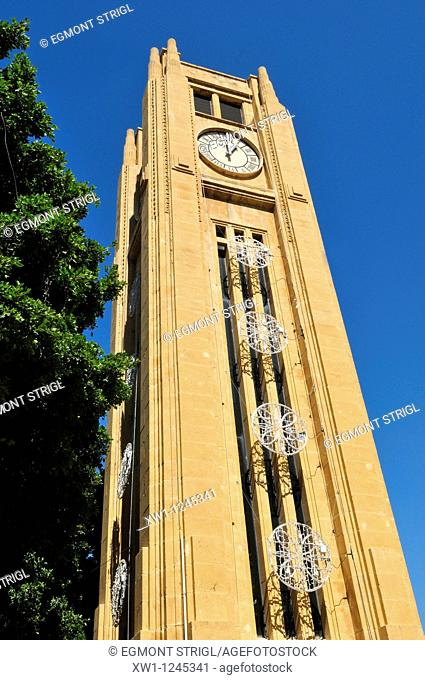 Place de l' Etoile, Clocktower in the historic center of Beirut, Beyrouth, Lebanon, Middle East, West Asia