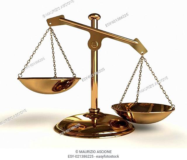 Justice concept - Gold Balance - 3D render image