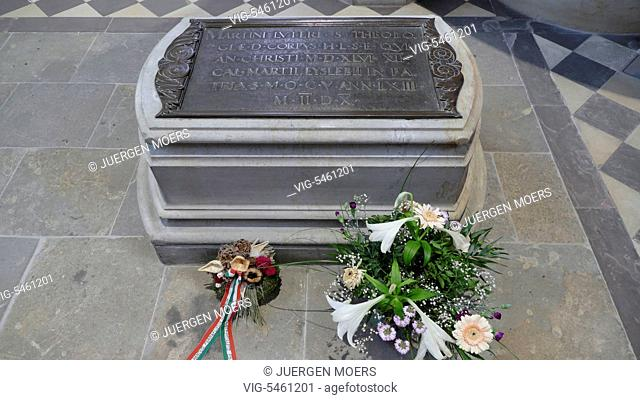 12.06.2016, Germany, Wittenberg, Martin Luther grave in castle church . - Wittenberg, GERMANY, 12/06/2016