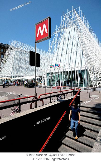 Italy, Lombardy, Milan, Milan Expo Gate, Info Point in Castle Square for the World Exposition 2015